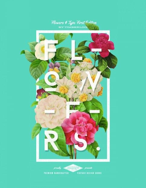 Poster di fiori stile disegnato a mano Psd Premium