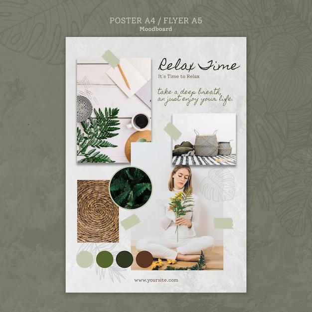 Poster di tempo relax con verde Psd Gratuite