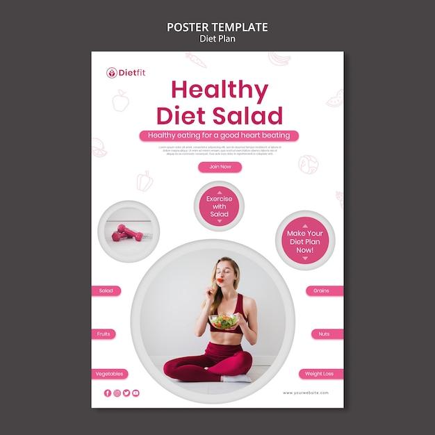 Poster dieetplan advertentiesjabloon Gratis Psd