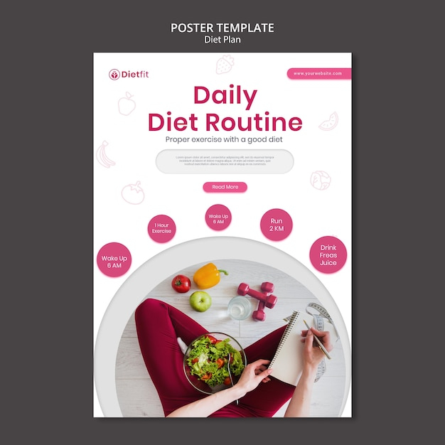 Poster dieetplan sjabloon Premium Psd