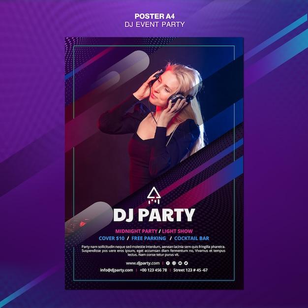 Póster dj party woman con auriculares PSD Premium