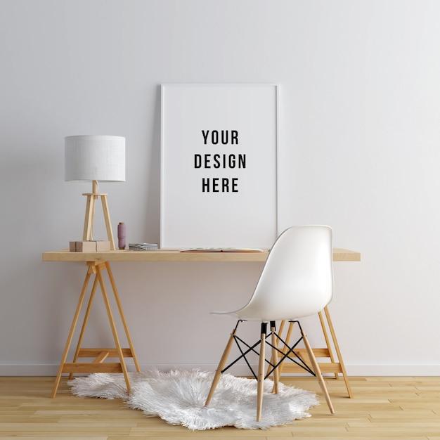 Poster frame mockup area di lavoro interna con decorazioni Psd Premium