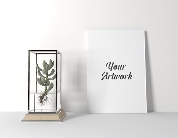 Poster frame mockup con cactus Psd Premium