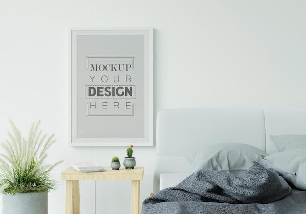 Poster frame mockup interieur in een slaapkamer Gratis Psd