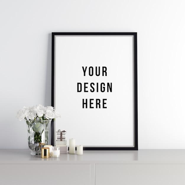 Poster frame mockup interior scene with decorations Psd Premium