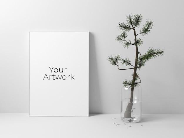 Poster frame mockup met kleine boom Premium Psd