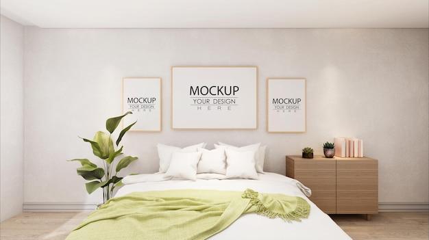 Poster frames mockup interieur in een slaapkamer Gratis Psd