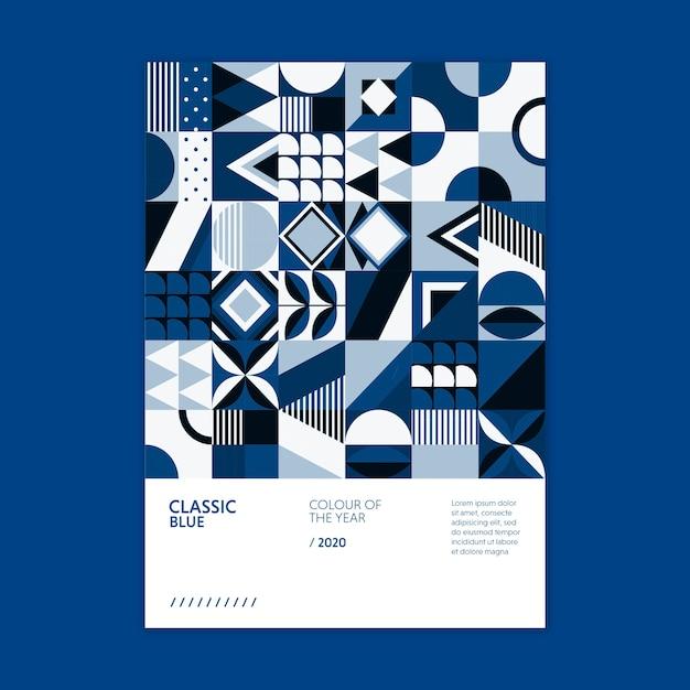 Póster geométrico color del año 2020 PSD gratuito