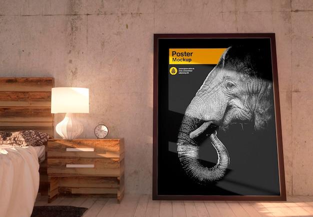 Poster in slaapkamer mockup ontwerp geïsoleerd Premium Psd