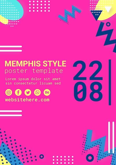 Poster in stile memphis rosa piatto Psd Gratuite