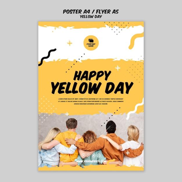 Poster met gele dagsjabloon Gratis Psd