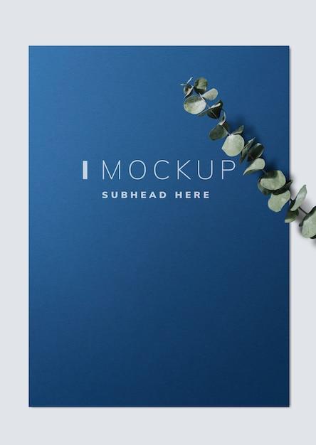 Poster mockup con foglie di eucalipto Psd Gratuite