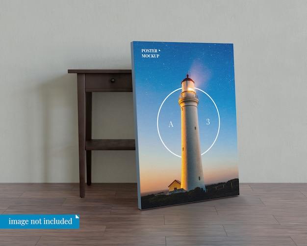 Poster mockup met nachtkastje Premium Psd