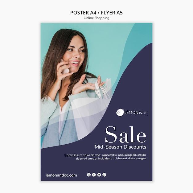 Poster per la vendita di moda online Psd Gratuite