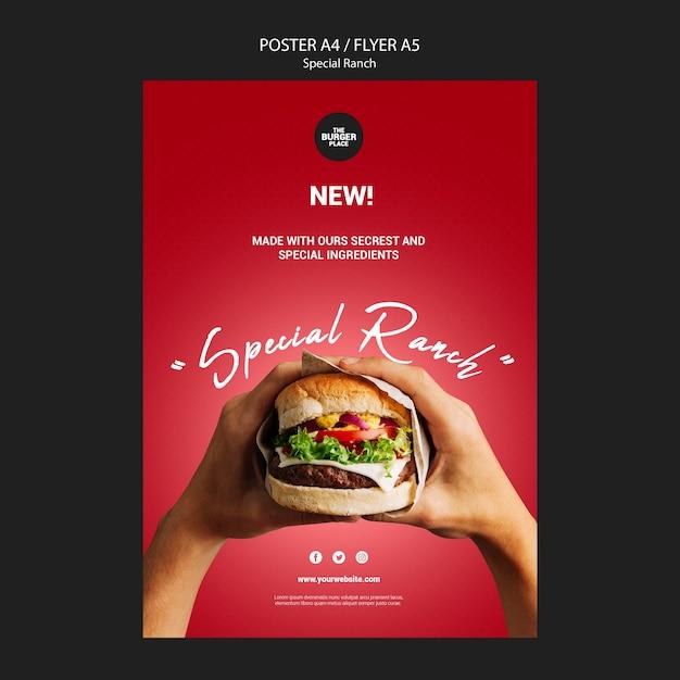 Poster per ristorante di hamburger Psd Gratuite