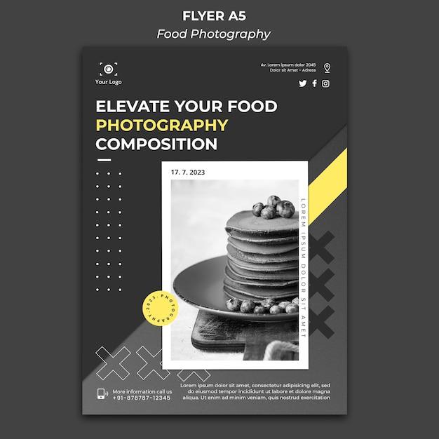 Póster de plantilla de fotografía de alimentos PSD gratuito