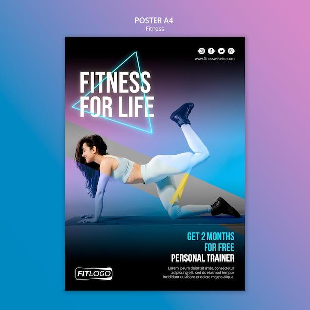 Poster sjabloon fitnesstrainer Gratis Psd