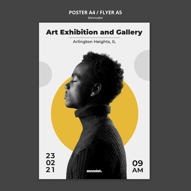 Poster sjabloon in minimale stijl voor kunstgalerie met man Gratis Psd