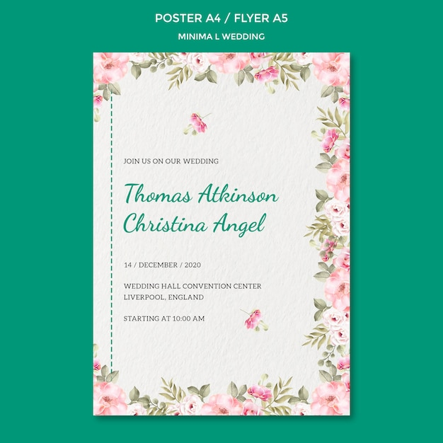 Poster sjabloon met bruiloft ontwerp Gratis Psd
