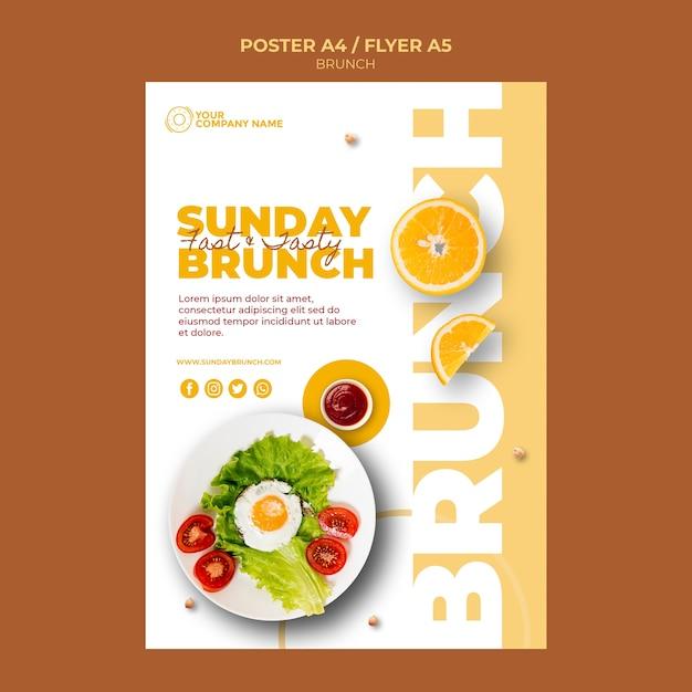 Poster sjabloon met brunch concept Gratis Psd