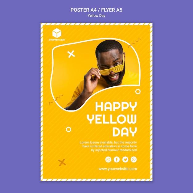 Poster sjabloon met gele dag Gratis Psd