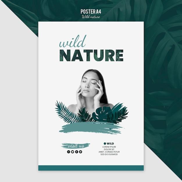 Poster sjabloon met wilde natuur concept Gratis Psd