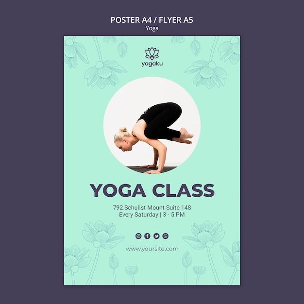 Poster sjabloon met yoga concept Gratis Psd