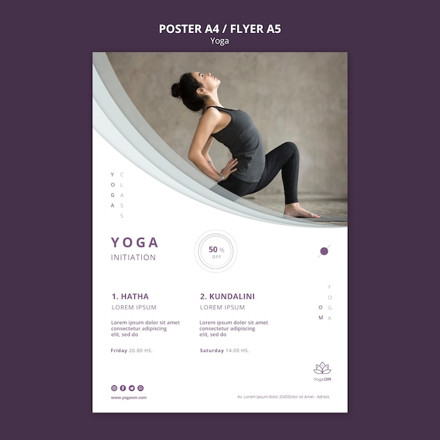 Poster sjabloon met yoga ontwerp Gratis Psd