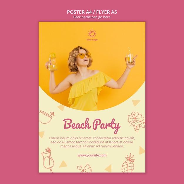 Poster sjabloon met zomerfeest thema Gratis Psd