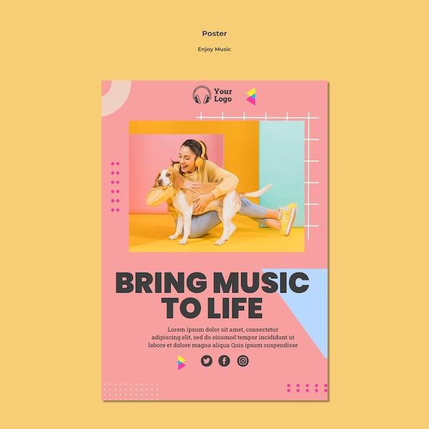 Poster sjabloon om van muziek te genieten Gratis Psd