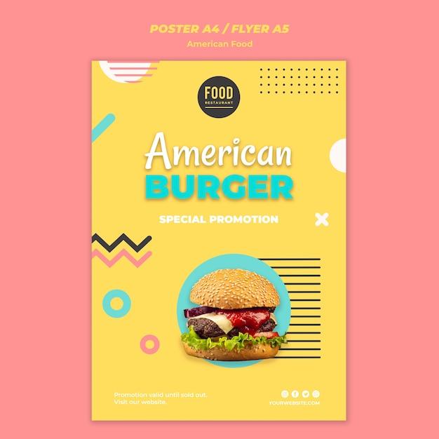 Poster sjabloon voor amerikaans eten met hamburger Gratis Psd
