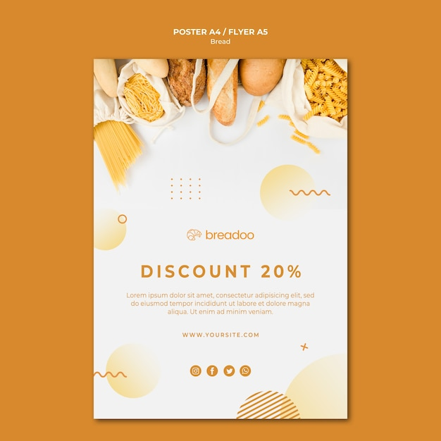 Poster sjabloon voor brood koken bedrijf Gratis Psd