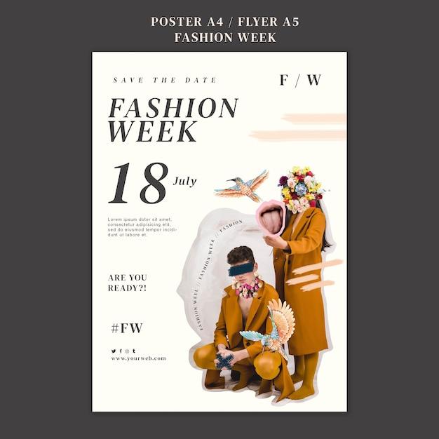 Poster sjabloon voor fashion week Gratis Psd