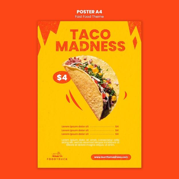 Poster sjabloon voor fastfoodrestaurant Gratis Psd