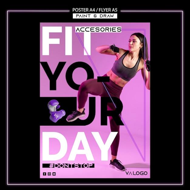 Poster sjabloon voor fitnesstraining Gratis Psd