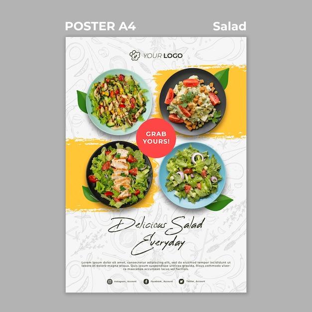 Poster sjabloon voor gezonde salade lunch Gratis Psd
