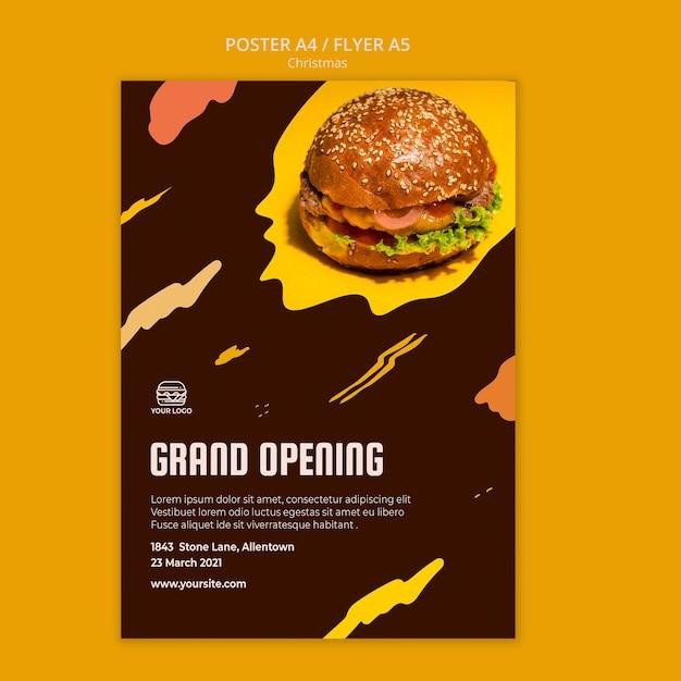 Poster sjabloon voor hamburgerrestaurant Gratis Psd