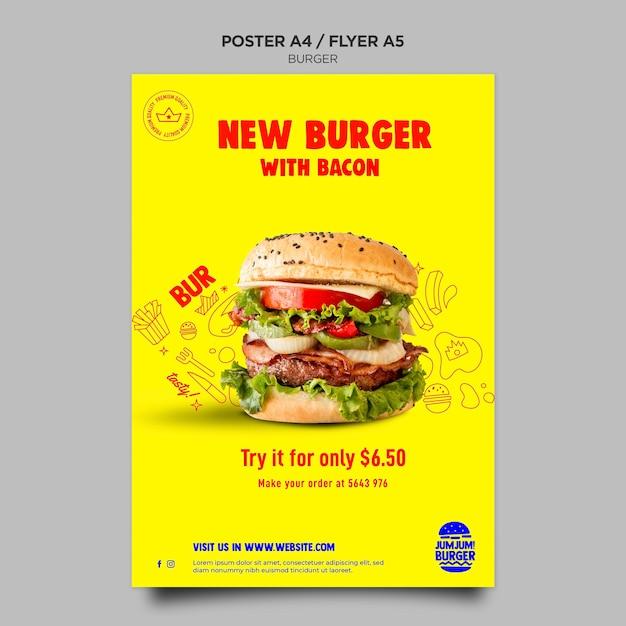 Poster sjabloon voor hamburgerrestaurant Premium Psd