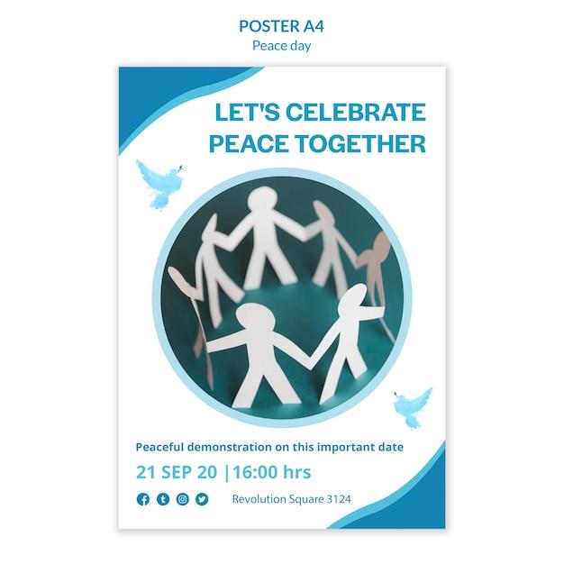 Poster sjabloon voor internationale dag van vrede Gratis Psd