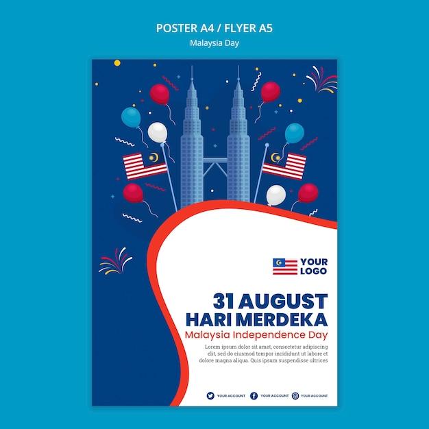 Poster sjabloon voor jubileumfeest van de dag van maleisië Gratis Psd