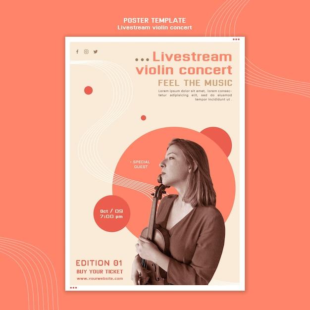 Poster sjabloon voor livestream vioolconcert Gratis Psd