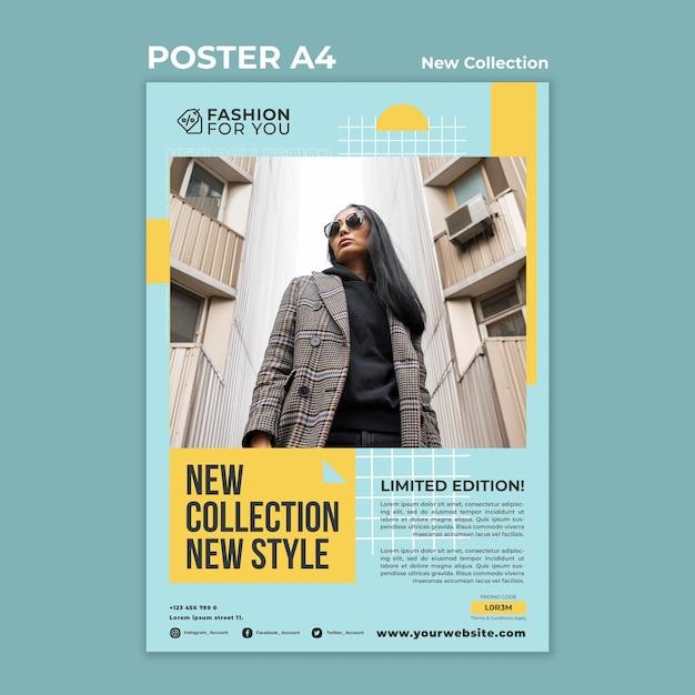 Poster sjabloon voor modecollectie met vrouw in de natuur Gratis Psd