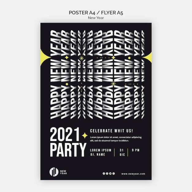 Poster sjabloon voor nieuwjaarsfeest Gratis Psd