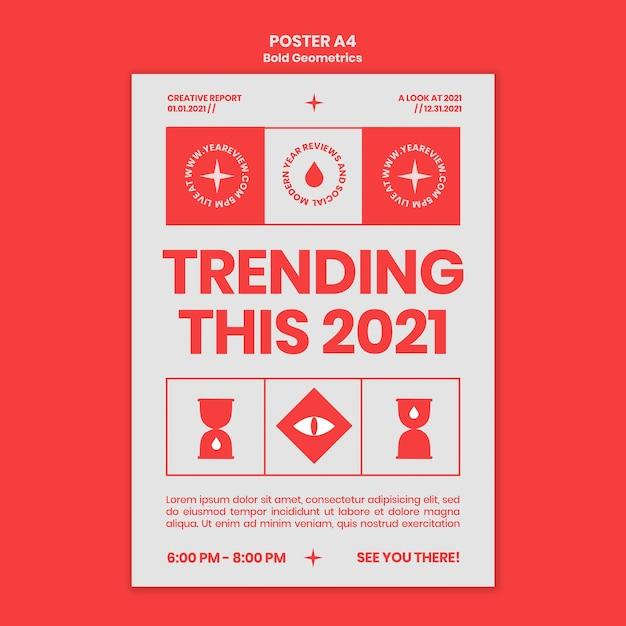 Poster sjabloon voor nieuwjaarsoverzicht en trends Gratis Psd