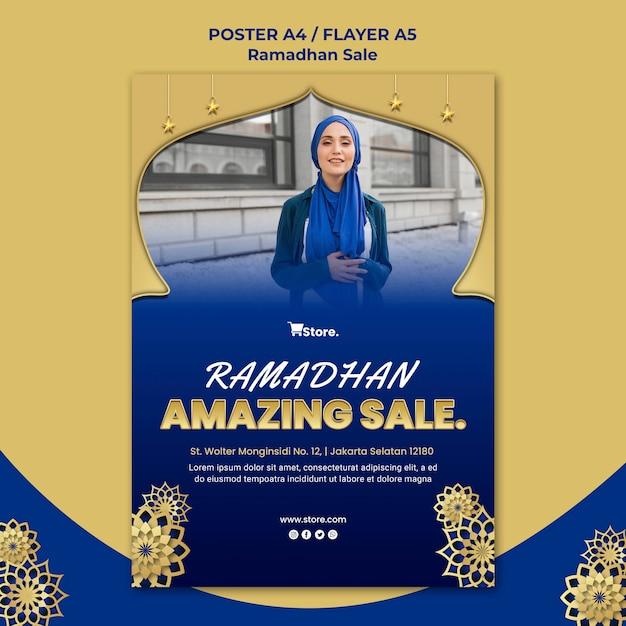 Poster sjabloon voor ramadan verkoop Gratis Psd