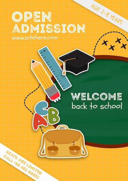 Poster sjabloon voor schoolaankondiging Gratis Psd