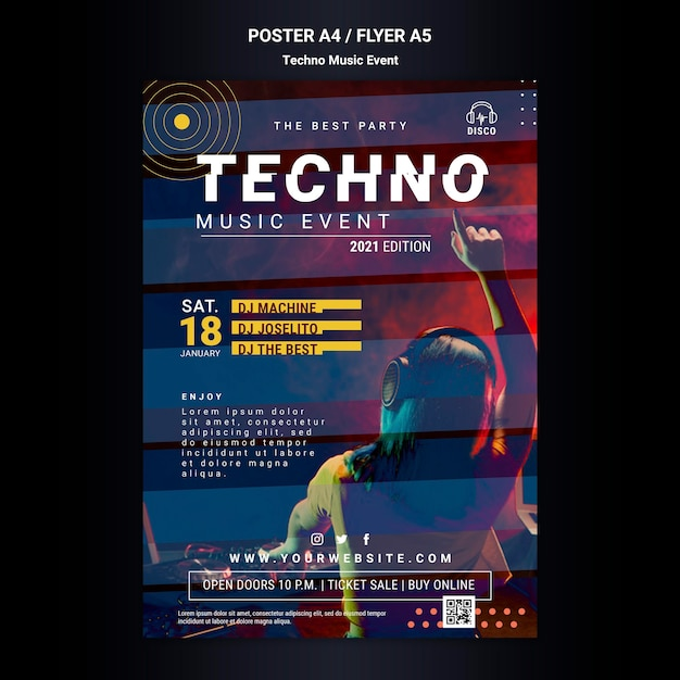 Poster sjabloon voor techno muziekavondfeest Gratis Psd