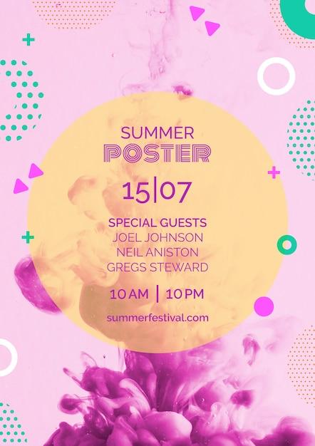 Poster sjabloon voor zomerfestival Gratis Psd