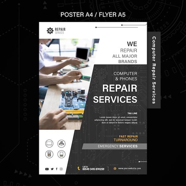 Poster voor reparatie van computers en telefoons Gratis Psd
