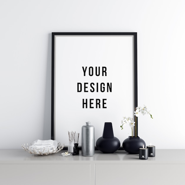 Posterframe mockup interieurscène met decoraties Premium Psd